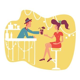 レトロなバーのwebバナー、ポスター。昔ながらのエレガントな女性と黄色の漫画の背景にクールなスタイリッシュなバーテンダーのキャラクター。 50年代スタイルのパーティー印刷可能なパッチ、カラフルなweb要素