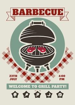 Retro barbecue party restaurant invitation template