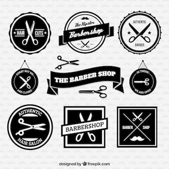 Retro barber shop badges