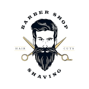 Retro barber shop logo