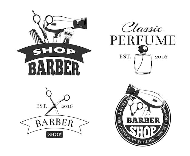 Retro barber shop vector emblem or logo