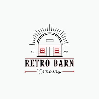 소박한 헛간이 있는 복고풍 헛간 농장 로고 디자인 컨셉 일러스트레이션