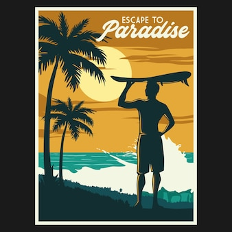 Retro beach illustration poster