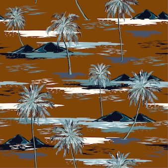 Retro beautiful seamless island pattern landscape with colorful palm trees