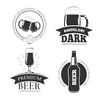 Retro beer goods vector emblems