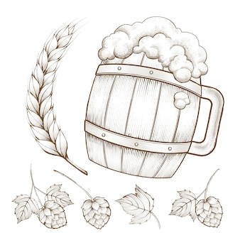 Retro beer ingredient element, beer barrel, wheats and hops in engraving style