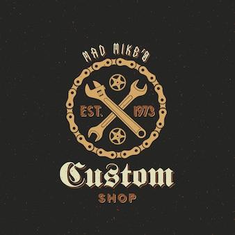 Retro   bicycle custom shop label or logo template