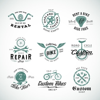 Retro bicycle   labels or logo templates set