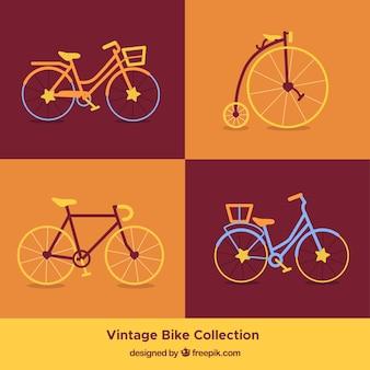 Ретро-пакет для велосипедов в плоском дизайне