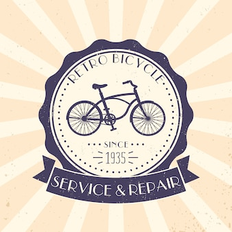 Retro bicycle service and repair, vintage logo, emblem with old bike