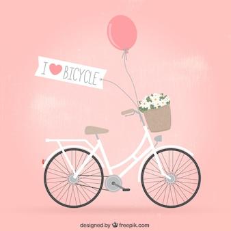 花とレトロ自転車