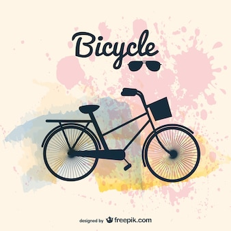 Retro bicycle with paint splashes background
