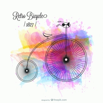 Retro bicycle with watercolor stains
