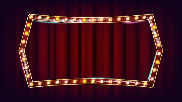 Retro billboard vector. realistic shine lamp frame. 3d electric glowing element. vintage golden illuminated neon light. carnival, circus, casino style. illustration