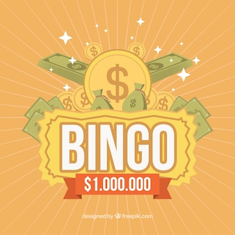 Retro bingo background with banknotes and coins