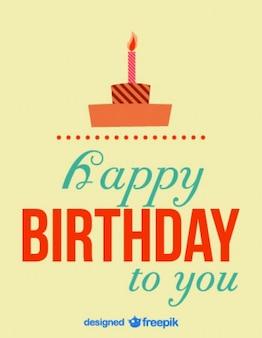 Retro birthday card cake illustration