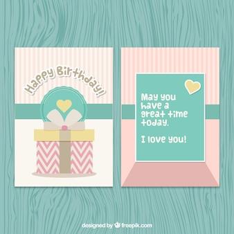 Retro birthday card in soft colors
