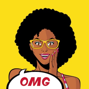 Retro black afro woman cartoon with glasses and omg bubble vector