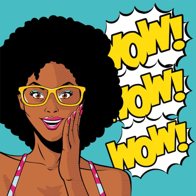 Retro black afro woman cartoon with glasses and wow explosion vector