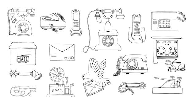 Ретро черно-белая коллекция проводных телефонов с дисковым набором номера
