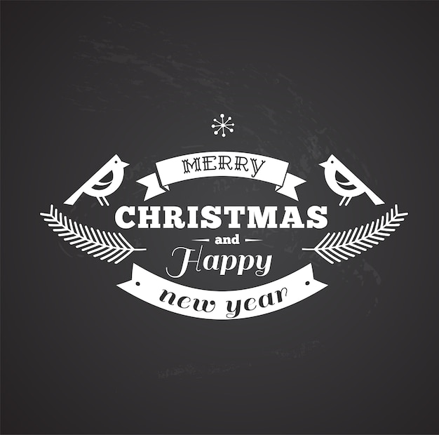 Retro black and white merry christmas and happy new year template with two birds.