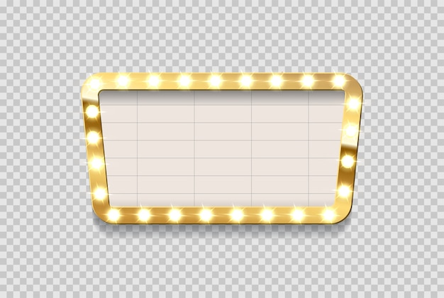 Retro blank cinema announcement board with bulb frame on transparent background.