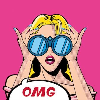 쌍안경과 세상에 거품 벡터와 레트로 금발 여자 만화