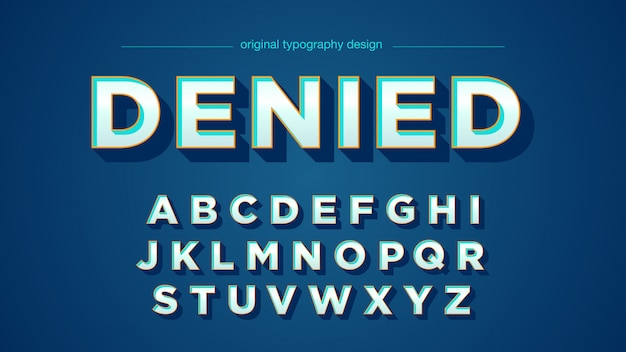 Retro blue bold bevel typography