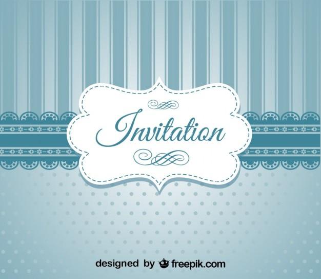 Ретро синий элегантный дизайн приглашения