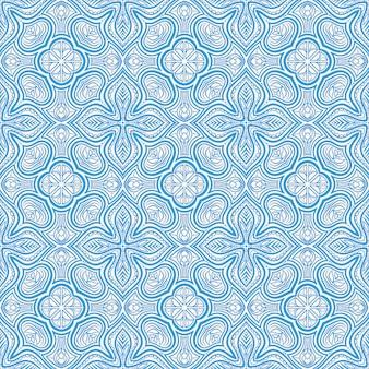 레트로 블루 플로랄 패턴
