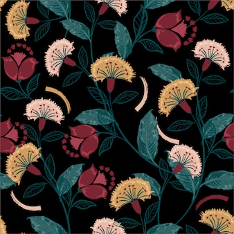 Retro bohemian floral, colorful seamless pattern, hand drawn folk style , design for fashion, fabric, prints, wallpaper, wrapping, and all prints