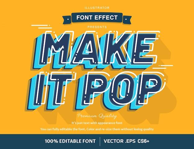 レトロな太字フォントスタイルの効果、編集可能なテキスト、高品質