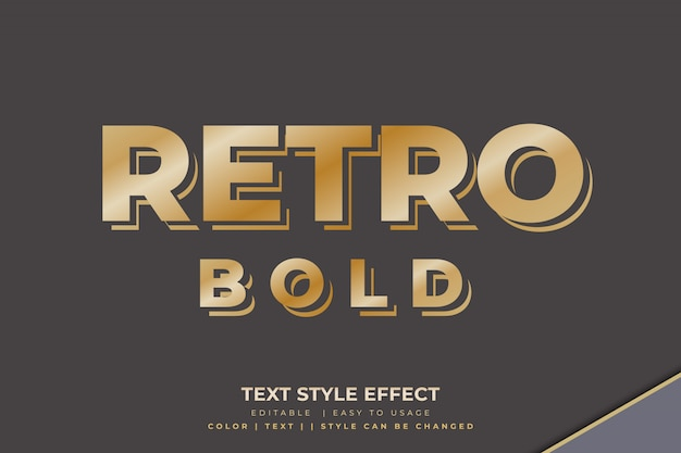 Retro bold text style effect with golden gradient