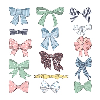 Retro bows. beauty kit of woman accessories. ribbons vector illustrations isolated