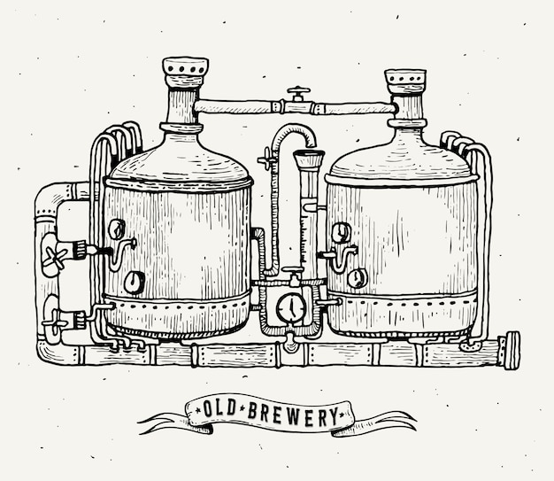 Retro brewery engraving. copper tanks and barrels in brewery beer. local brewery.