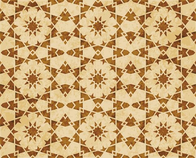 레트로 브라운 이슬람 완벽 한 기하학 패턴 배경 동부 스타일 장식