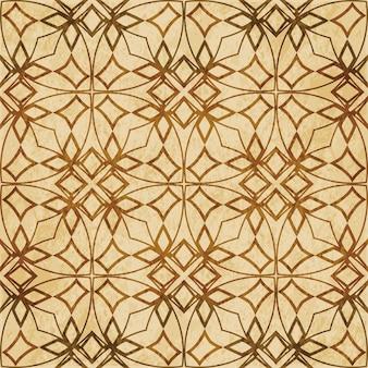 레트로 브라운 질감 완벽 한 패턴, 곡선 크로스 프레임 라인 스타 플라워 체인