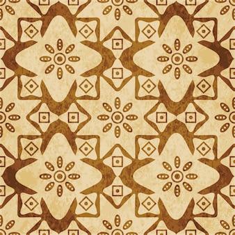 레트로 브라운 질감 완벽 한 패턴, 곡선 스타 크로스 라운드 꽃