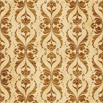 レトロな茶色のテクスチャのシームレスなパターン、曲線波クロスドットライン葉の花