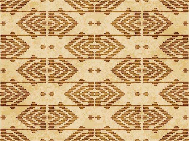Retro brown textured seamless pattern, geometry polygon cross stitch line frame