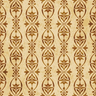 Retro brown textured seamless pattern, oval curve cross frame flower