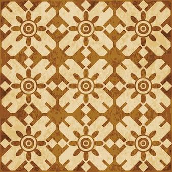 레트로 브라운 질감 완벽 한 패턴, 다각형 형상 라운드 크로스 프레임 꽃