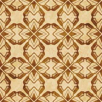 레트로 브라운 질감 완벽 한 패턴, 다각형 별 형상 크로스 도트 라인 꽃