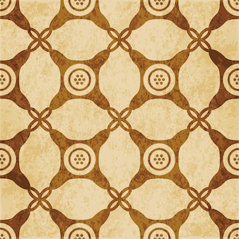 Retro brown textured seamless pattern, round corner check cross dot frame