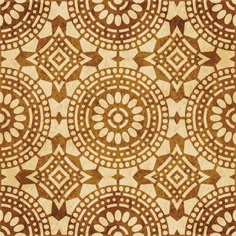 레트로 브라운 질감 된 완벽 한 패턴, 라운드 크로스 도트 라인 프레임 꽃