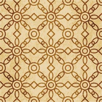 레트로 브라운 질감 된 완벽 한 패턴, 라운드 크로스 프레임 체크 꽃