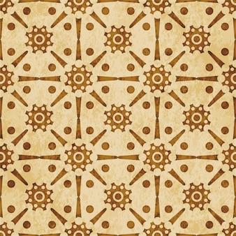 레트로 브라운 질감 된 완벽 한 패턴, 라운드 크로스 프레임 별 꽃