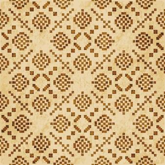 レトロな茶色の織り目加工のシームレスパターン、スクエアモザイククロスチェックジオメトリ