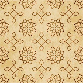 레트로 브라운 질감 완벽 한 패턴, 스타 곡선 크로스 프레임 꽃