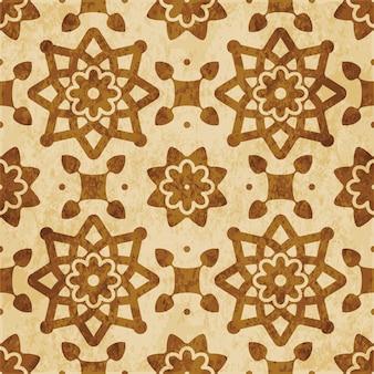 레트로 브라운 질감 된 완벽 한 패턴, 스타 라운드 크로스 꽃 프레임